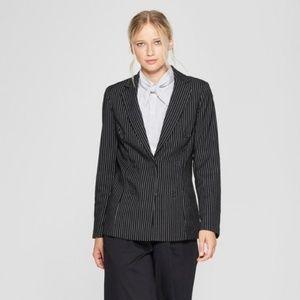 Who What Wear Women M Black Pinstriped Blazer